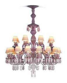 Lladro Chandelier Belle de nuit CHAND24L PINK CE_UK 1023274